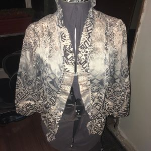 Chico's 0 linen blend, ruffle front jacket